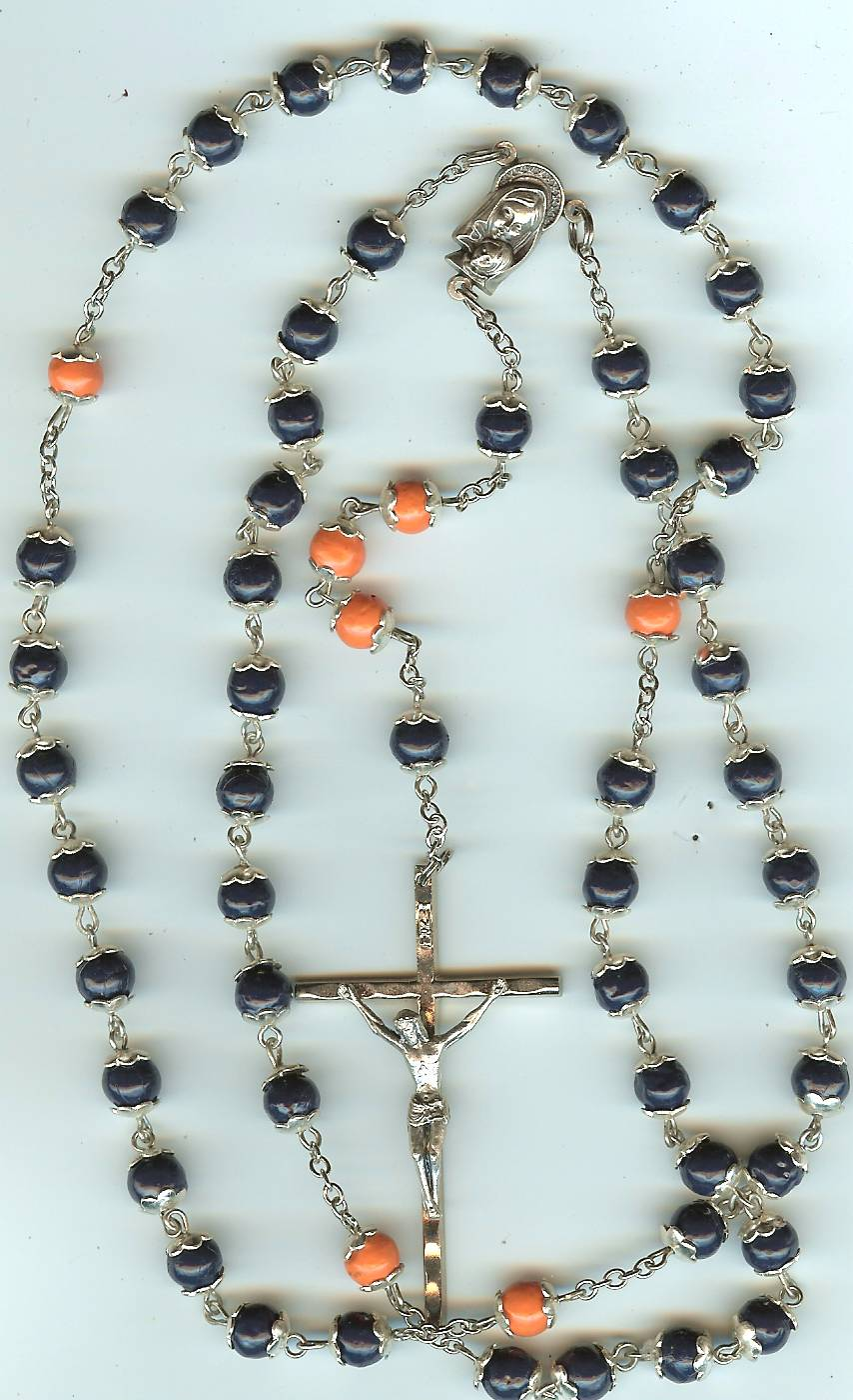 #107S Full Rosary Silver base metal caps, CHOICE of bead colors