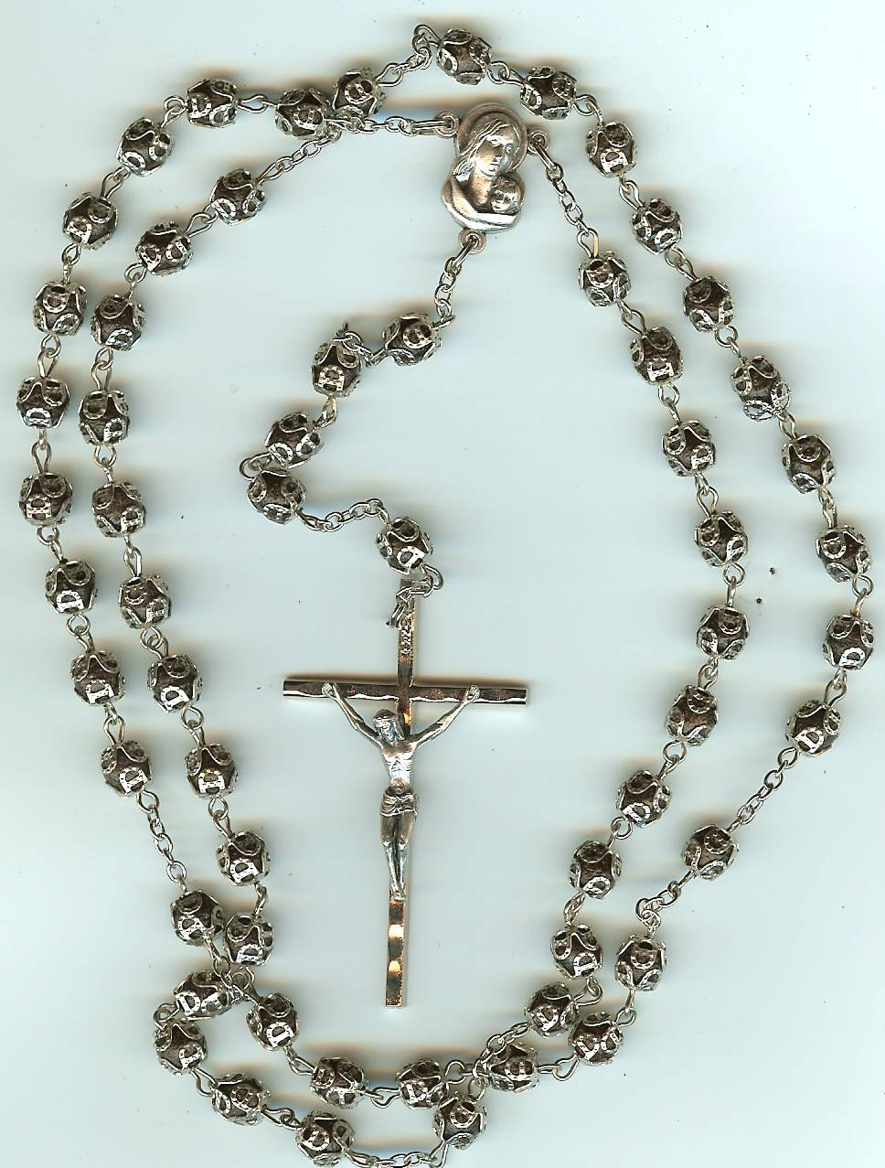 #101S Full Rosary, Traditional Beads - Silver