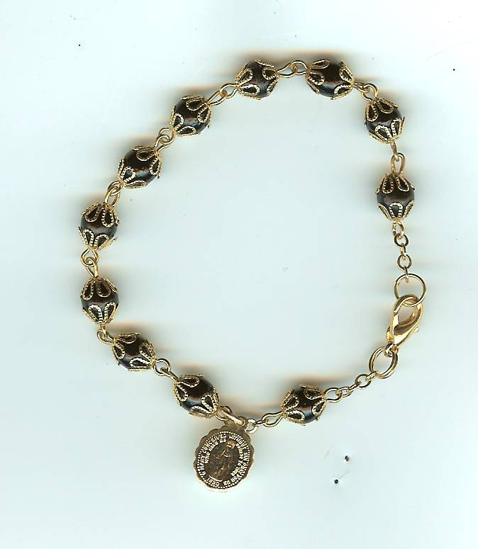 #112G Gold Metal Prayer Bracelet with choice of bead color