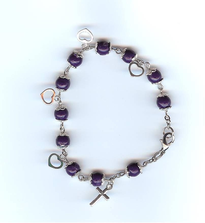 #110S Silver Prayer Bracelet with Hearts