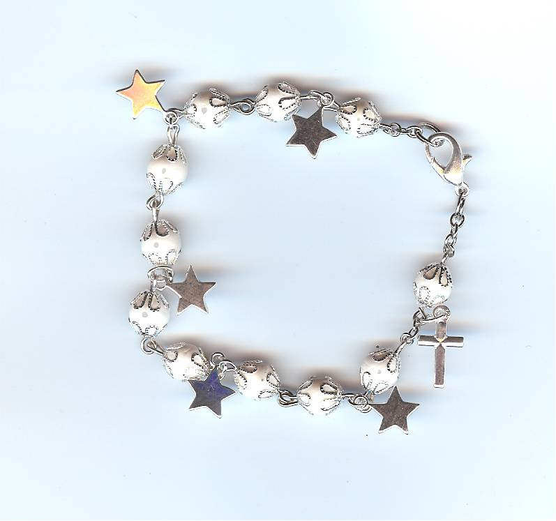 #113S Prayer Bracelet with 'Stars' and choice of bead color